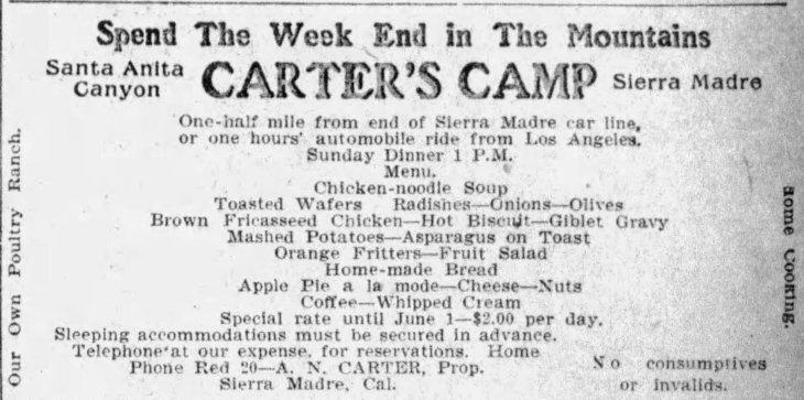 Carter's Camp ad menu The_Los_Angeles_Times_Sat__May_15__1909_