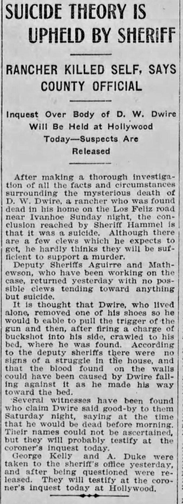 Dwire suicide Sheriff Hammel Los_Angeles_Herald_Tue__Mar_22__1910_