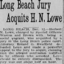 LA Herald headline and story on Lowe acquital Dec-1