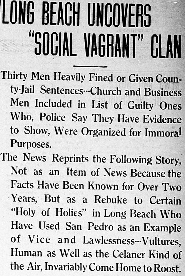 Police Raid in Long Beach Headline San Pedro newspaper