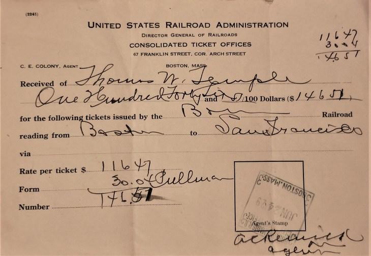 Thomas train receipt