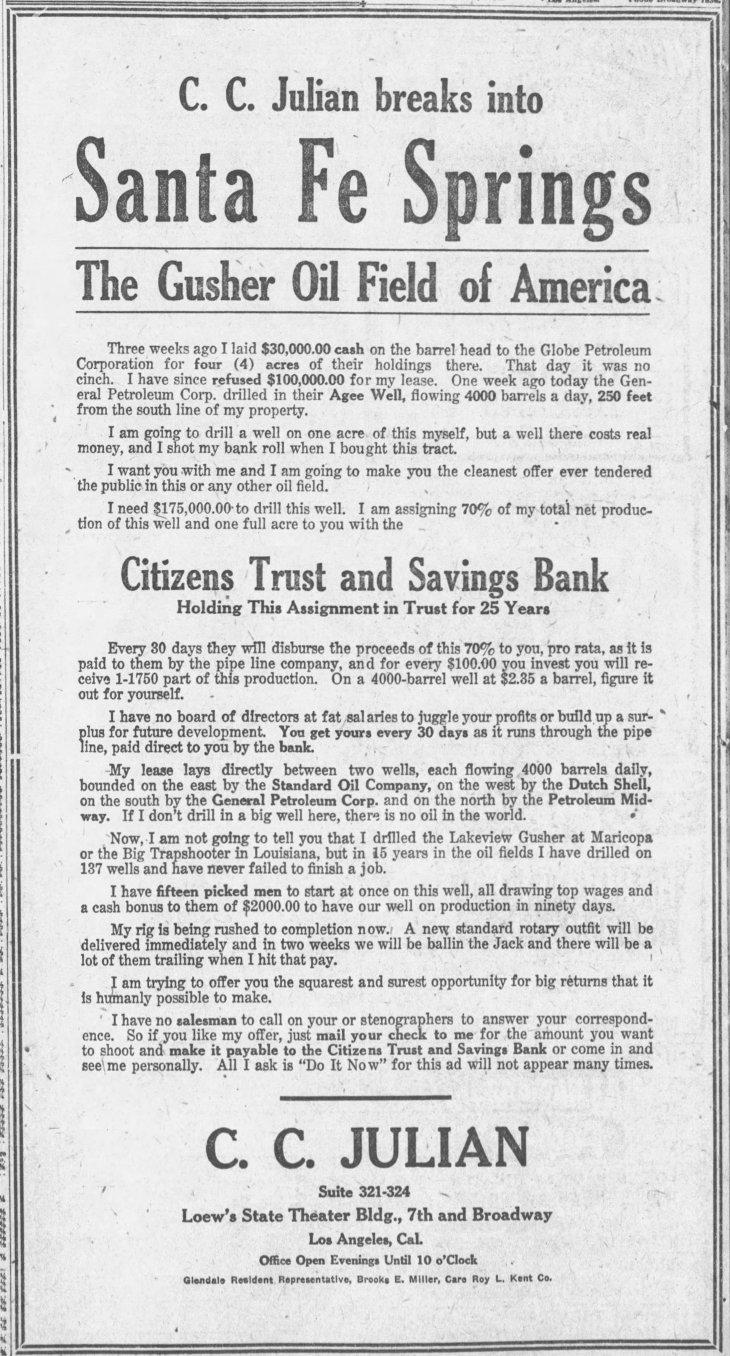 1st Santa Fe Springs ad The_Los_Angeles_Times_Mon__Jun_19__1922_