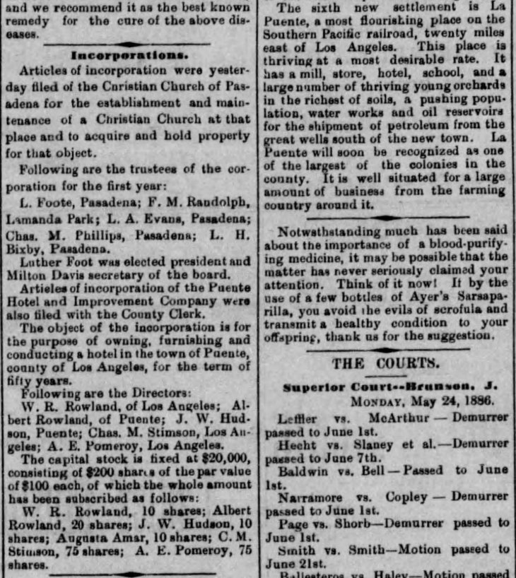 La Puente desc and hotel incorporation Los_Angeles_Herald_Tue__May_25__1886_