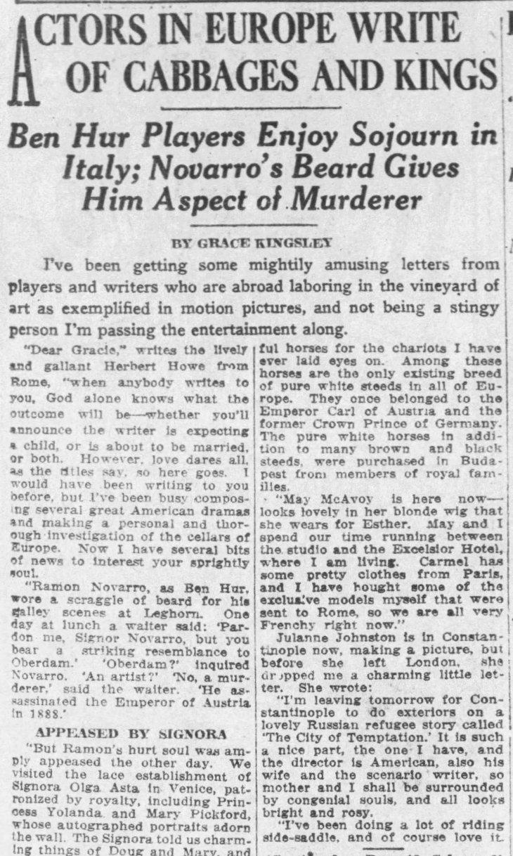 Ben Hur Actors Write The_Los_Angeles_Times_Sun__Dec_28__1924_