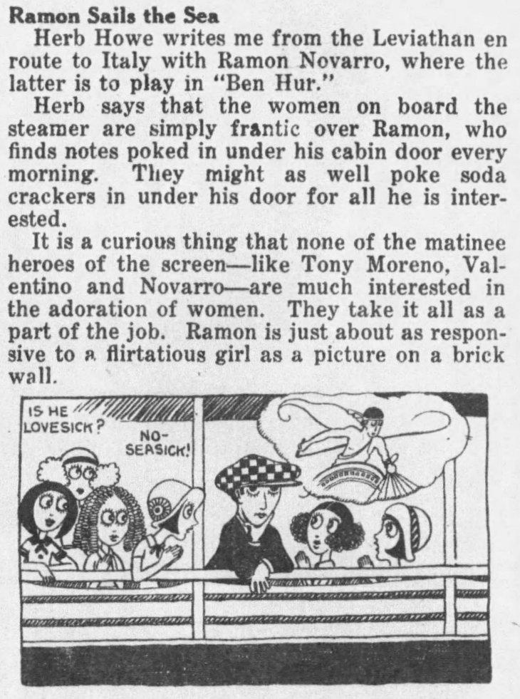 Novarro at sea w cartoon The_Los_Angeles_Times_Wed__Jul_30__1924_