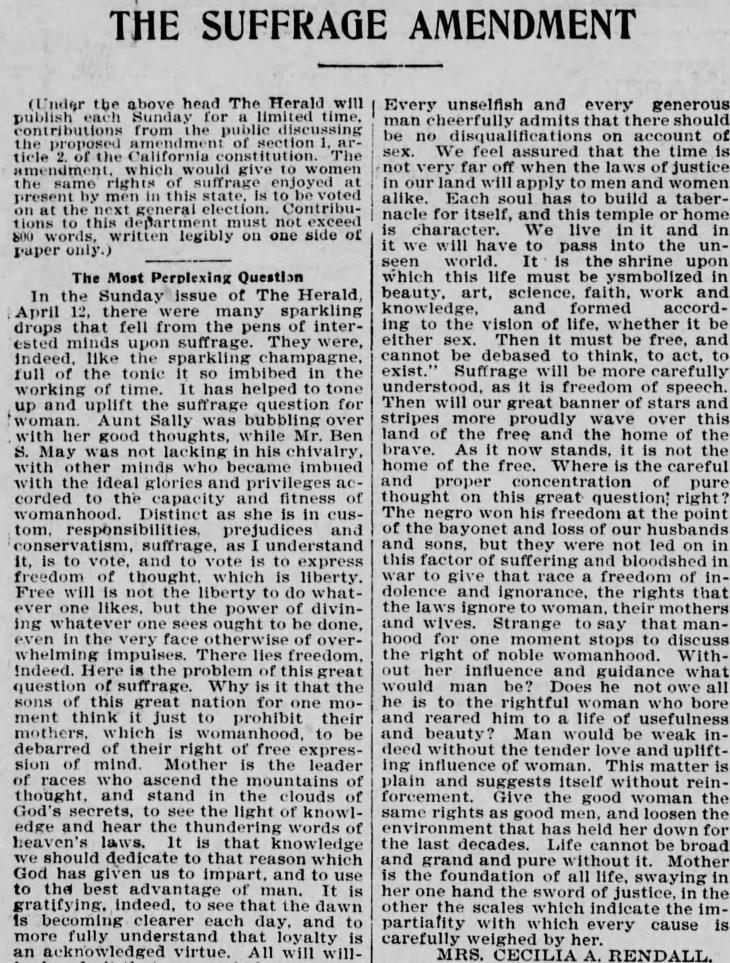 Celia Rendall Woman Suffrage editorial Los_Angeles_Herald_Sun__May_10__1896_