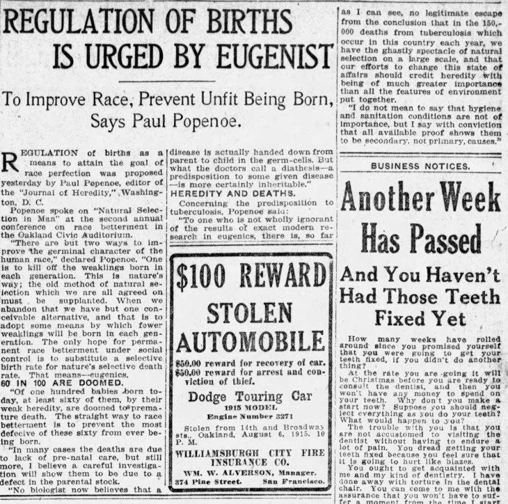 Popenoe eugenics talk The_San_Francisco_Examiner_Sun__Aug_8__1915_