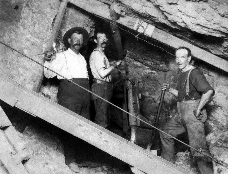 2952Three Men In Third Street Tunnel Construction Los Angeles 2008.319.1.1