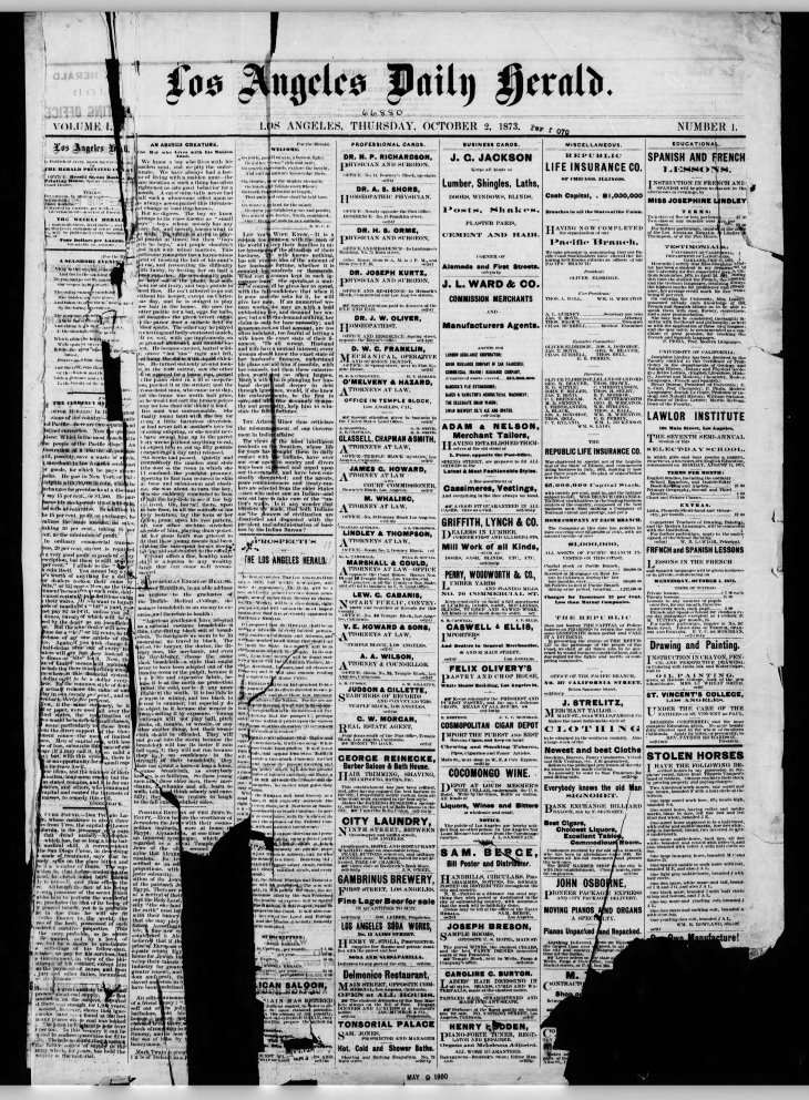 1st issue Los_Angeles_Herald_Thu__Oct_2__1873_
