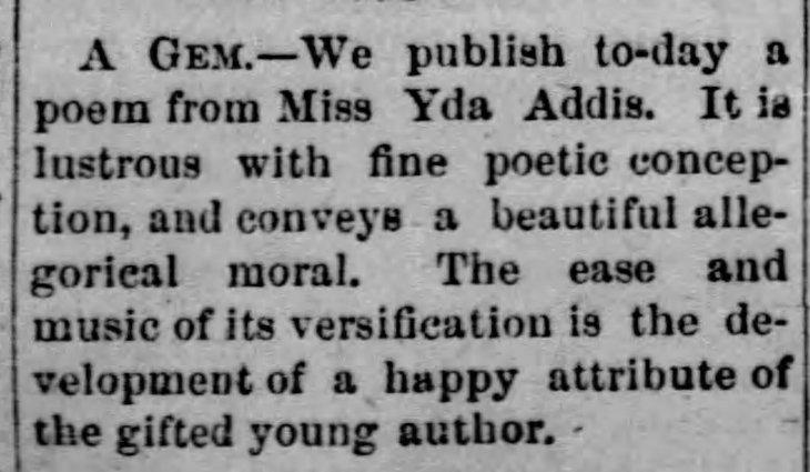 Yda first mention Evening_Express_Wed__Jan_28__1874_