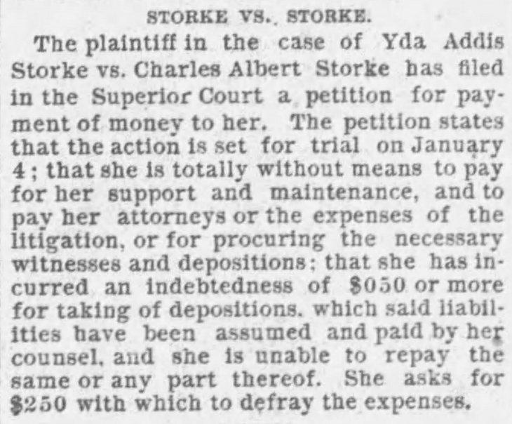 Yda Storke v Storke The_Los_Angeles_Times_Wed__Dec_30__1891_