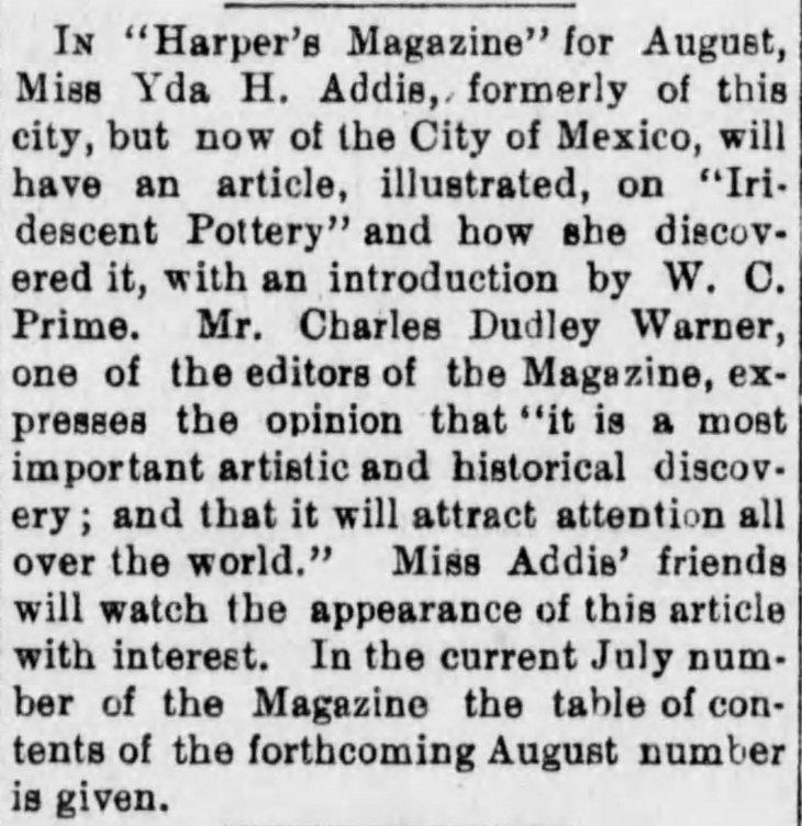 Yda Warner Harpers article Los_Angeles_Herald_Sun__Jun_30__1889_