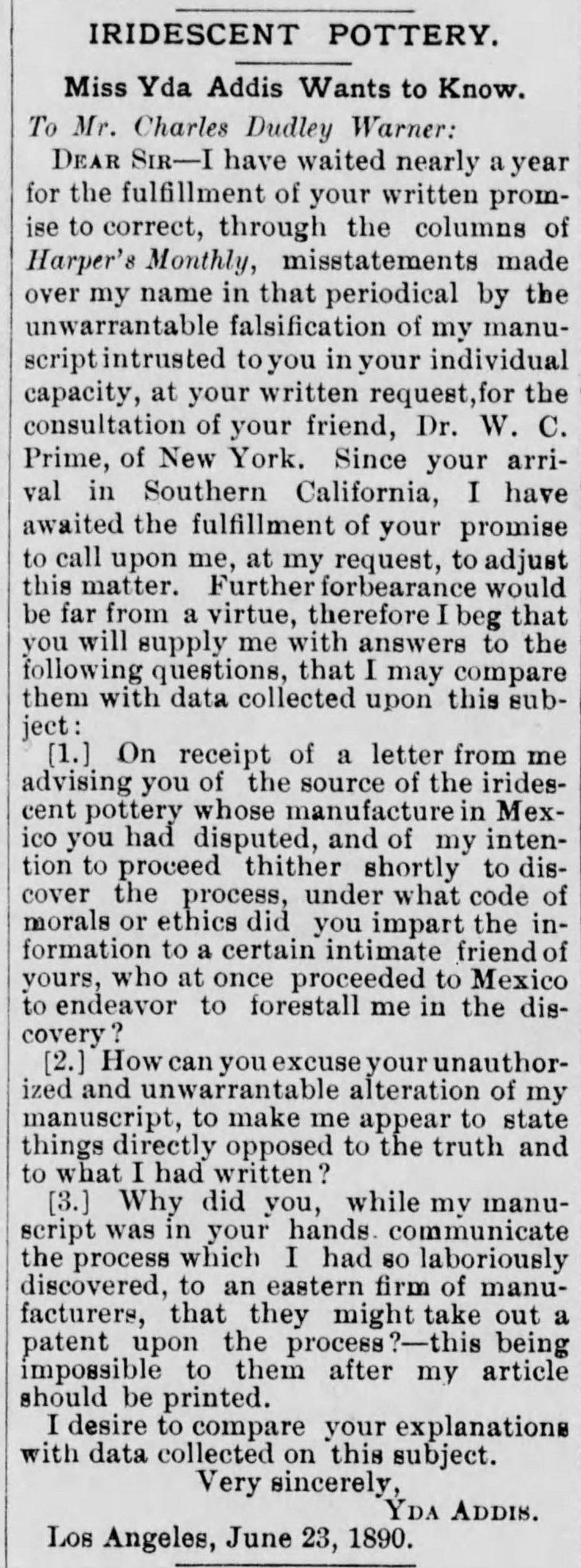 Yda Warner letter Los_Angeles_Herald_Wed__Jun_25__1890_