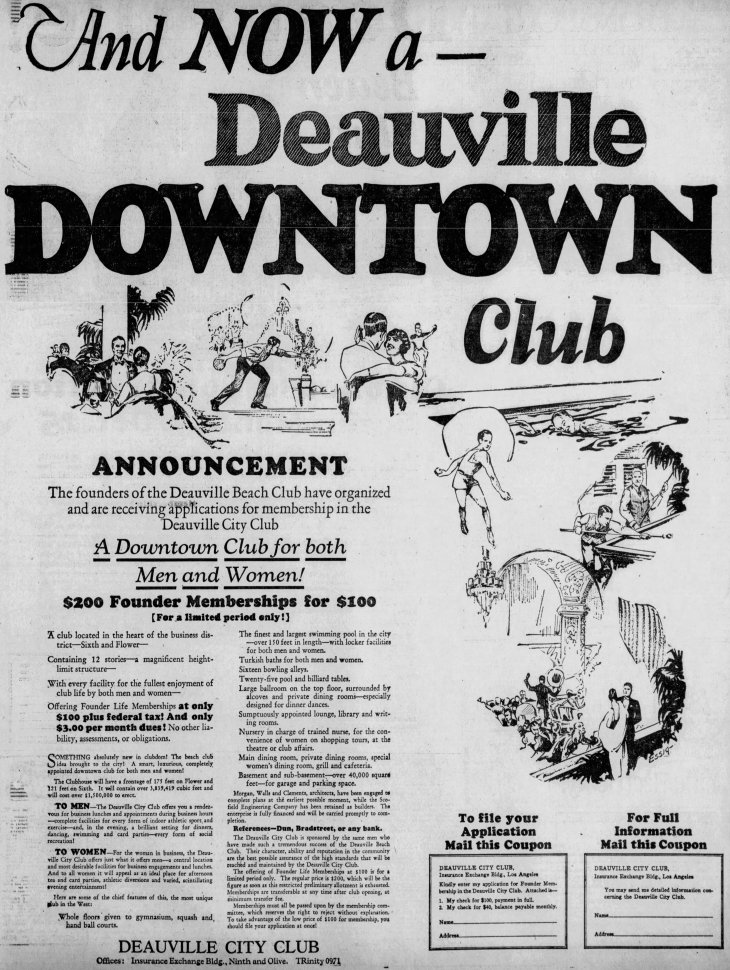Deauville City Club 1st ad Los_Angeles_Evening_Express_Thu__Sep_23__1926_