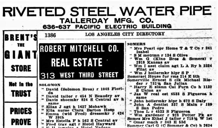 John Somervile LA city directory 1907