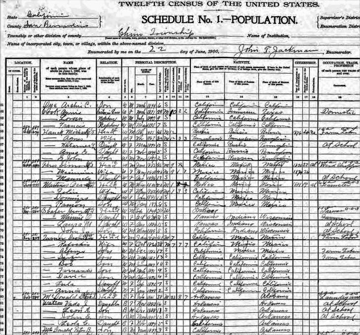 Vada Watson 1900 census Chino CA