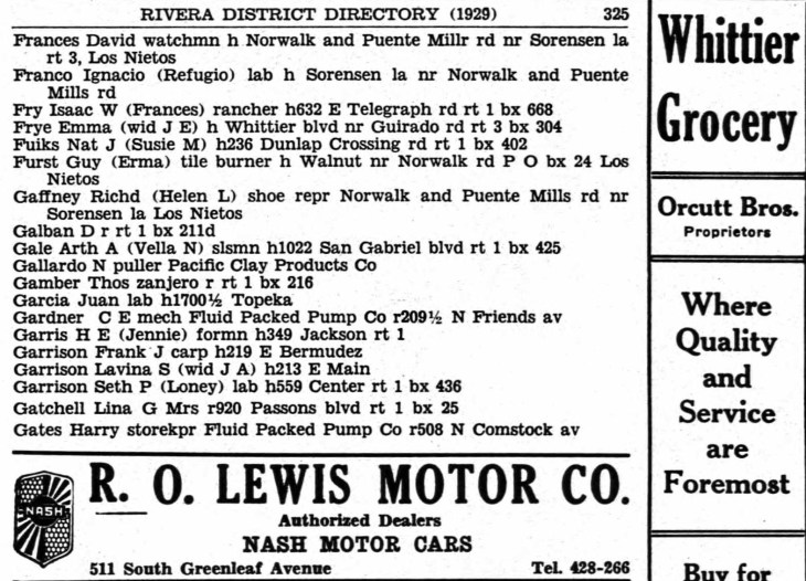 AA Gale 1929 Rivera District Directory