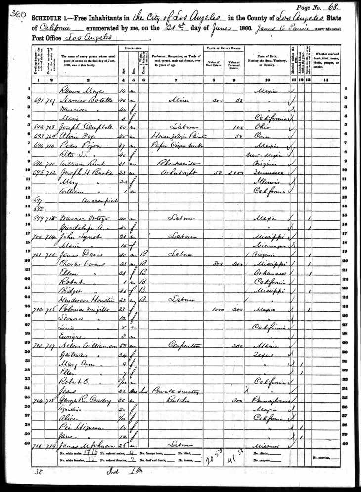 1860 census Davis Owens Mason Houston