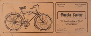 Moneta Cycling advertising blotter, 1915.