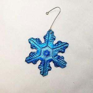 Snow Flake Christmas Tree Ornament - Metal Blue