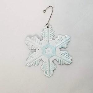 Snow Flake Christmas Tree Ornament - Leather Blue