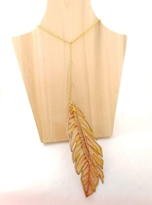 Yellow and Orange Feather Necklace