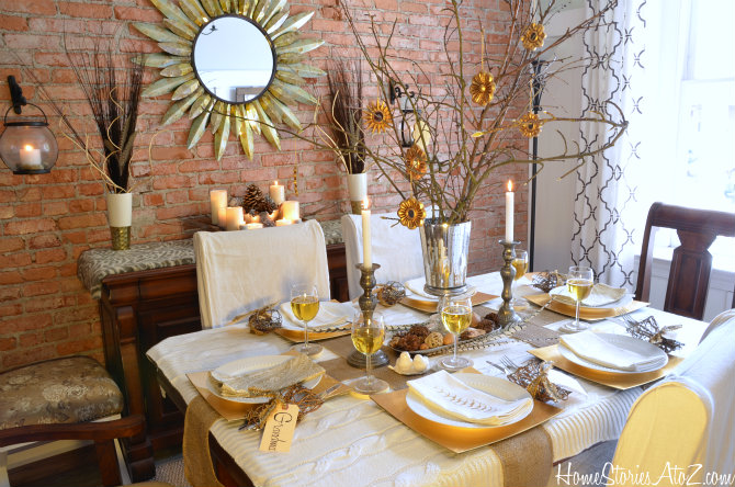 Natural Elements And Metallic Tablescape