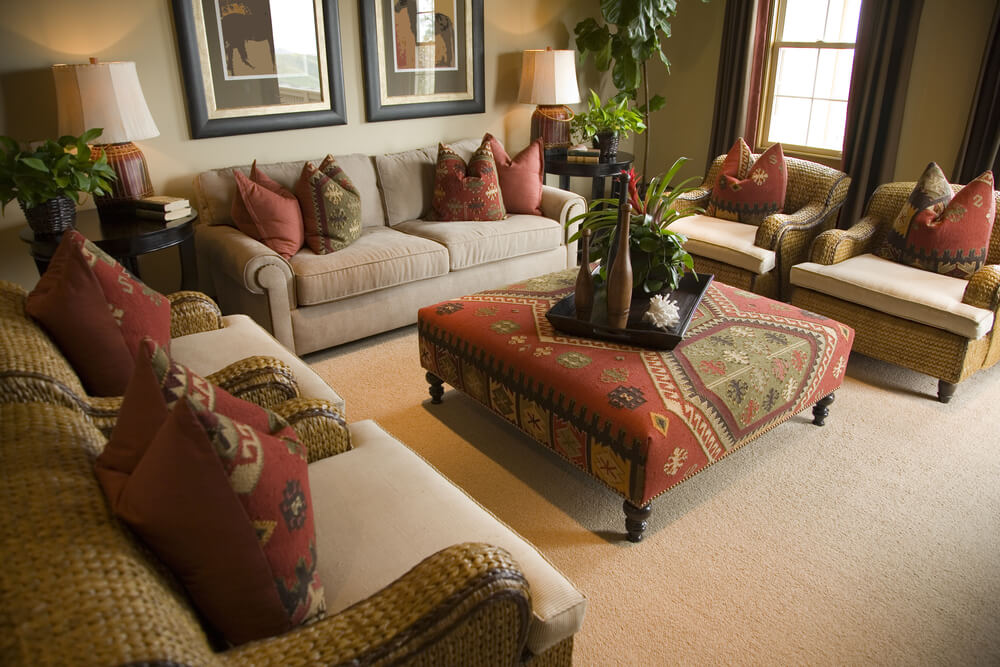 living rooms with ottoman coffee tables