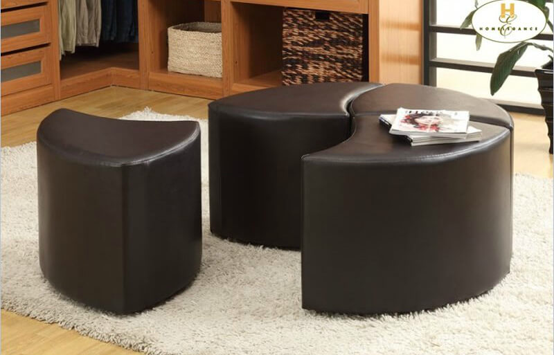 Leather Storage Ottoman Casters