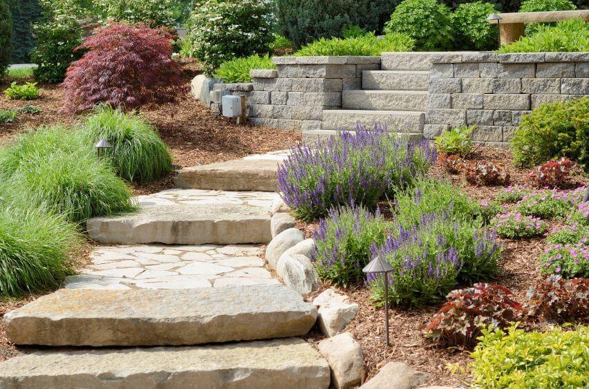 60 Outdoor Garden Landscaping Step Ideas | Outdoor Garden Under Stairs | Small | Crosstie | Gardening | Landscaping | Lawn