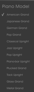 Arturia Piano V Review piano models menu image