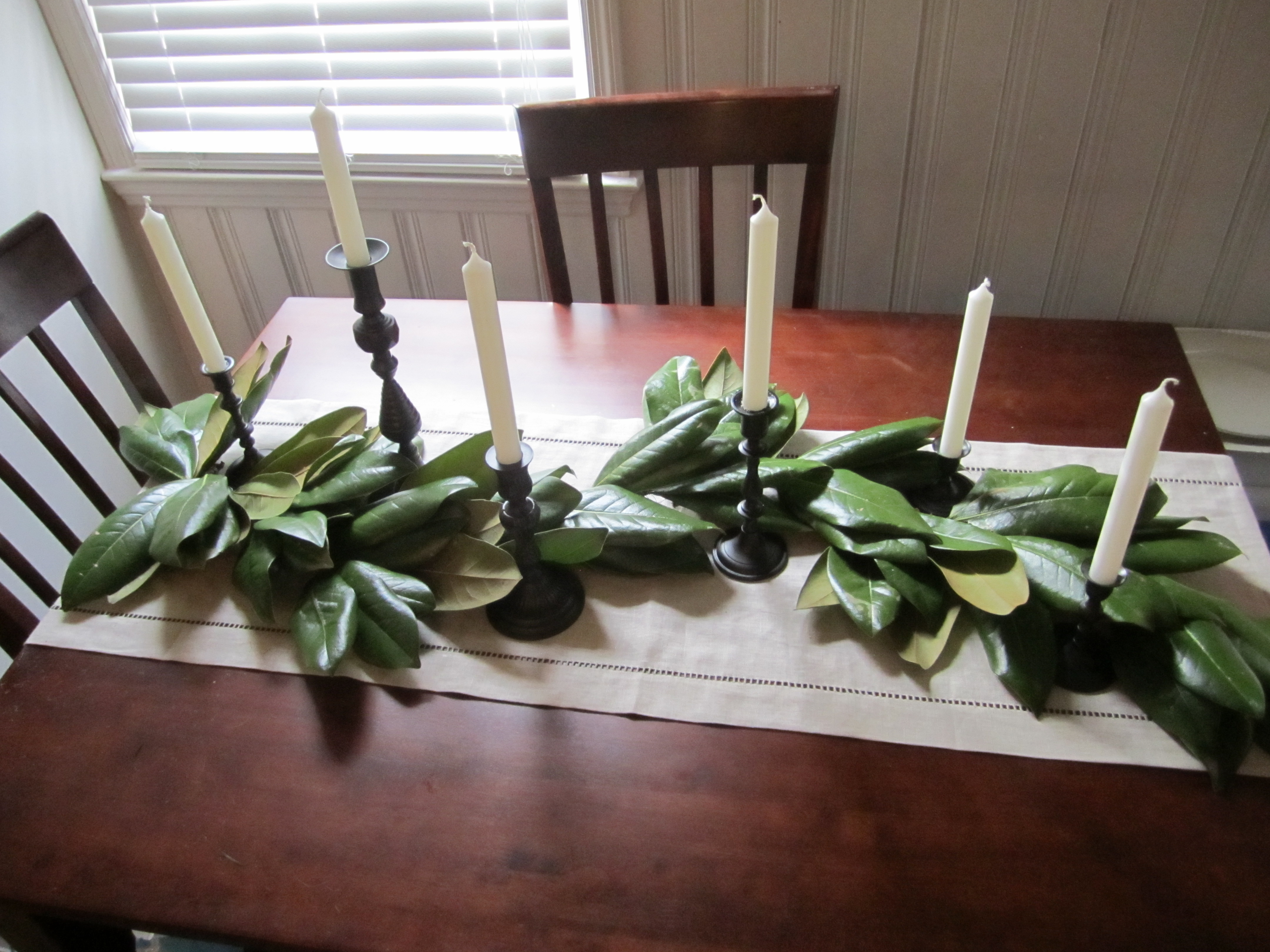 diy  magnolia leaf wreath   garland   home sweet blog   the finished product