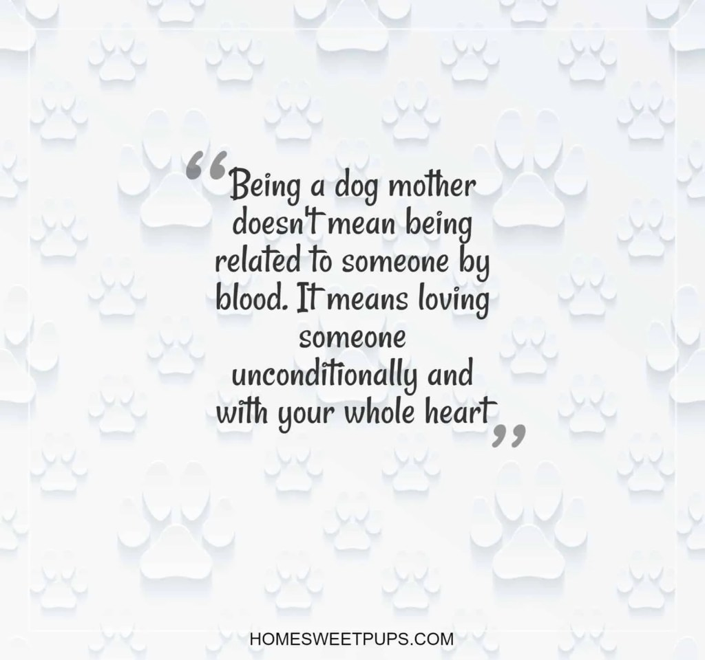 "Qoute about dogs loyalty "" Being a dog mother doesn't mean being related to someone by blood. It means loving someone unconditionally and with your whole heart"""