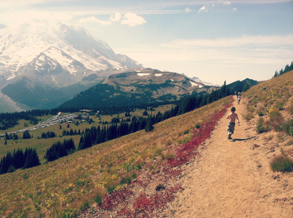 mount rainier with kids