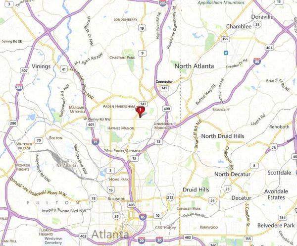 Peachtree Atlanta Map Location Of 2828 Condos