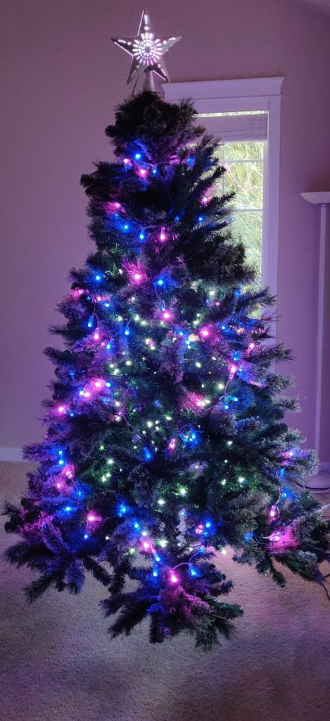 Blue and Violet WLED powered Christmas Tree