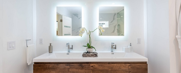 bathroom with a modern medicine cabinet
