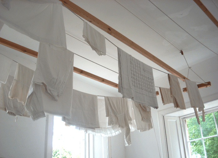 drying clothes near the ceiling