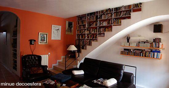 bookcase shelves staircase 1