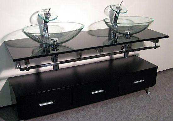 riga double vessel sink vanity set