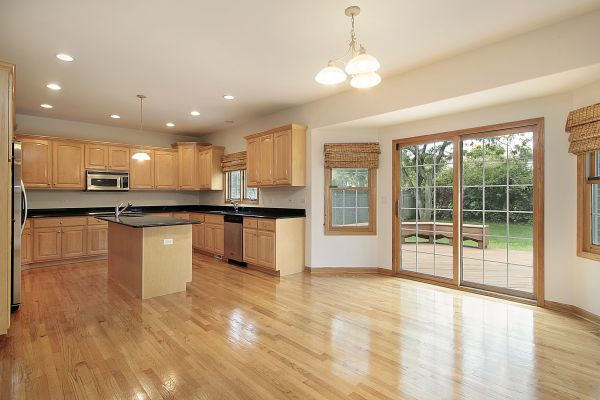 Kitchen and eating area in vacant home