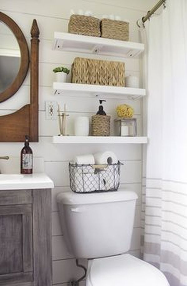 Floating shelves in bathroom