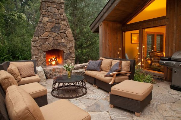fireplace in an open space