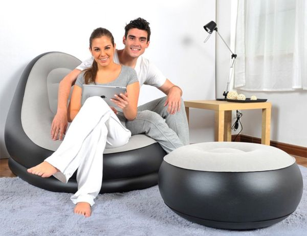 Inflatable Air Chair and Ottoman