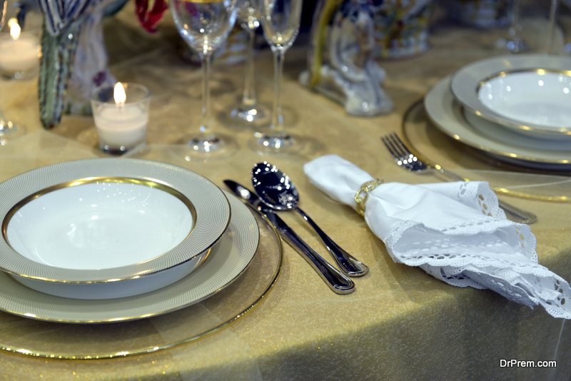 dining table with napkin rings