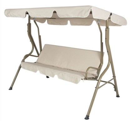 2 Person Outdoor Patio Canopy Glider Swing Beige