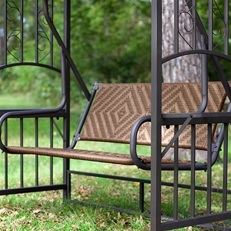 2 Person Gazebo Canopy Porch Swing Glider Natural Brown Resin Wicker : canopy porch swing - memphite.com