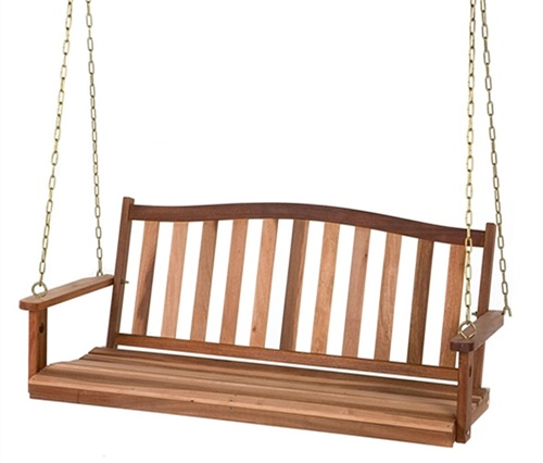 Shorea Wood Double Chain Curved Back Porch Swing