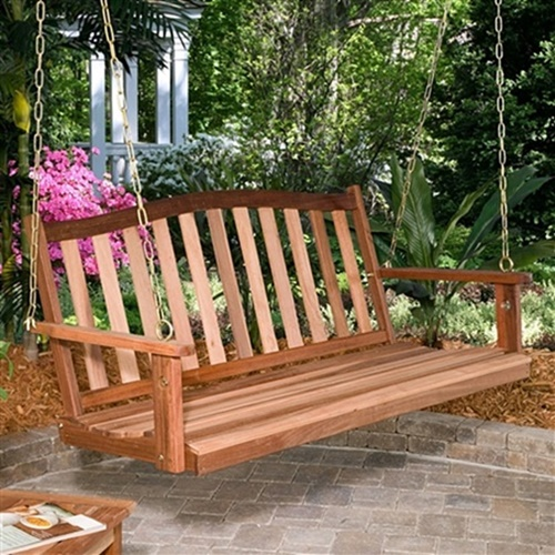 Shorea Wood Double Chain Curved Back Porch Swing - HometoOutdoors
