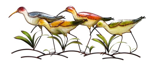 Colorful Shore Birds Metal Wall Decor